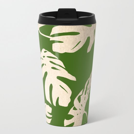 Palm Leaves White Gold Sands on Jungle Green Metal Travel Mug