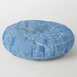 New York City Map of the USA - Blueprint Floor Pillow