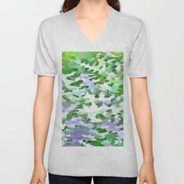 Foliage Abstract In Green and Mauve Unisex V-Neck