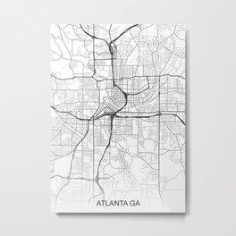 Atlanta GA Map White USA Metal Print