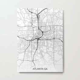Atlanta GA Map White USA Metal Print
