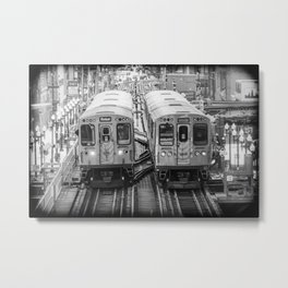 Black and White Chicago Train El Train above Wabash Ave the Loop Windy City Metal Print