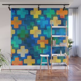 Positively Blue / Abstract Geometric Shapes Wall Mural