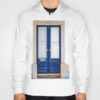 portugal Hoodies featuring Door Ericeira Portugal blue by Sébastien BOUVIER