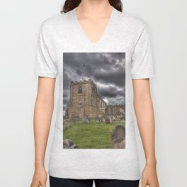 St. Mary's Church in Whitby on the Yorkshire Coast in England Unisex V-Neck
