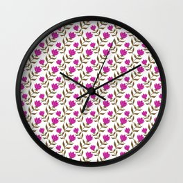 Elegant classy delicate distressed blooming pink rose flowers pattern design. Retro vintage stylish Wall Clock