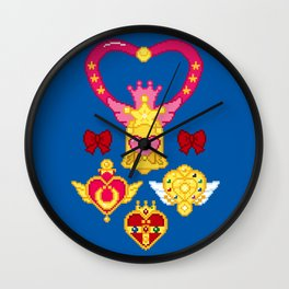 Pixel Moon Brooches Wall Clock