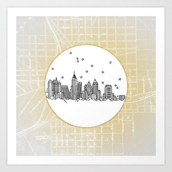 Atlanta, Georgia City Skyline Illustration Drawing Art Print