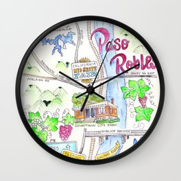 New Paso Robles Map Wall Clock