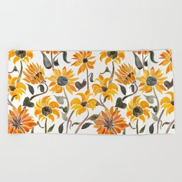 Sunflower Watercolor – Yellow & Black Palette Beach Towel