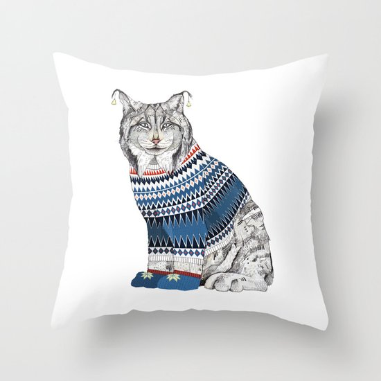 Christmas Lynx // Festive Furries No.1 Throw Pillow