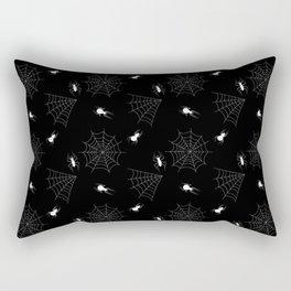 White Spiders Spiderweb Black Background Halloween Rectangular Pillow