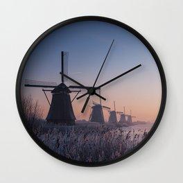 Sunrise at Kinderdijk II Wall Clock