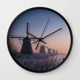Sunrise at Kinderdijk II Wall Clock