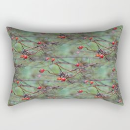 Small rosehips on bare branches Rectangular Pillow
