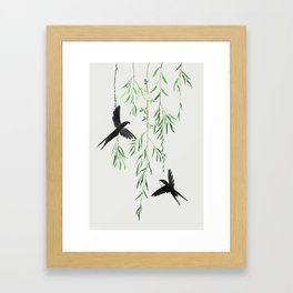 green willow leaf and swallow watercolor Framed Art Print
