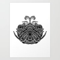 henna Art Prints featuring Henna of Pugly by Huebucket