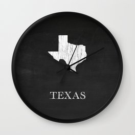 Texas State Map Chalk Drawing Wall Clock