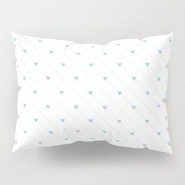 Vector aqua heart and diagonal dotted line seamless pattern Pillow Sham