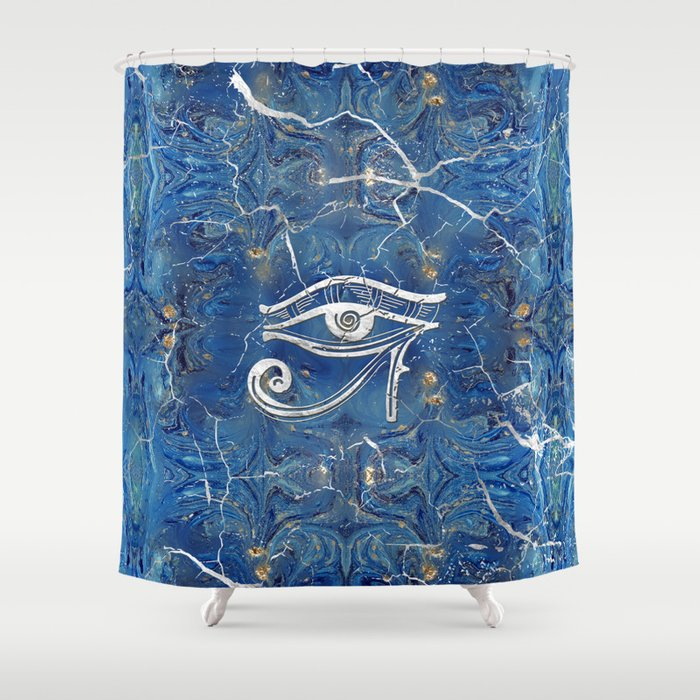 Silver Egyptian Eye of Horus  on blue marble Shower Curtain