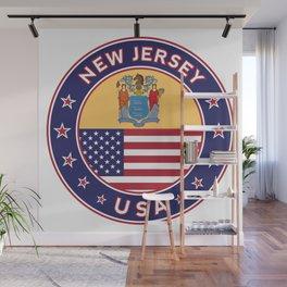 New Jersey, USA States, New Jersey t-shirt, New Jersey sticker, circle Wall Mural