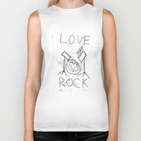 drums Biker Tanks featuring Love Rock Drums by Louise Court