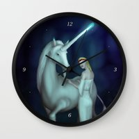 unicorn Wall Clocks featuring Unicorn by Egberto Fuentes