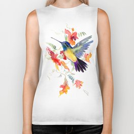 Hummingbird, floral bird art, soft colors Biker Tank