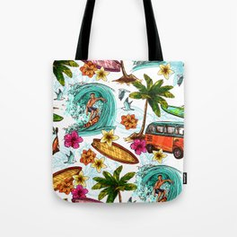 Hawaii Summer Surfing Holiday on Tropical Island Face Mask  Tote Bag