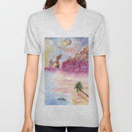 A New World Watercolor Art Illustration Unisex V-Neck
