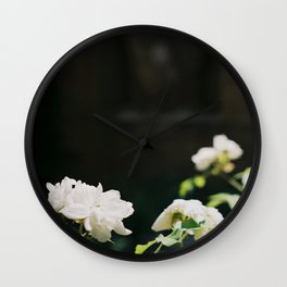 White Florals Flowers Against A Dark Background Negative Space Composition Wall Clock