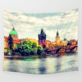 Prague panorama watercolor Wall Tapestry