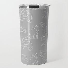 Nordic Chic White Tibbies on Light Grey Minimalist Outline Pattern Travel Mug