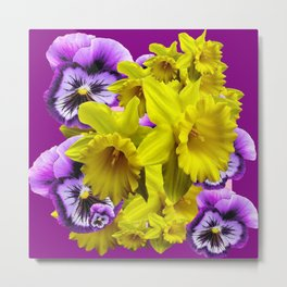 YELLOW SPRING DAFFODILS & LILAC PANSIES COLOR ART Metal Print