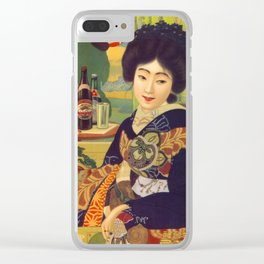 Vintage Japanese Beer Colorful Ad Clear iPhone Case