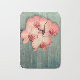 Coral Orchids on Wood Mint Bath Mat