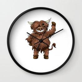 Happy Highland Cow Kawaii Cartoon Style Wall Clock