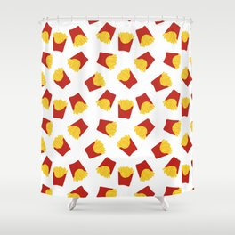 FRENCH FRIES POMMES FAST FOOD PATTERN Shower Curtain