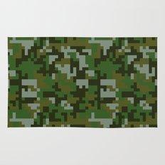 Green Pixel Army Camo pattern Rug