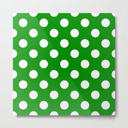 Islamic green - green - White Polka Dots - Pois Pattern Metal Print