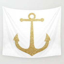 Gold Glitter Anchor Wall Tapestry