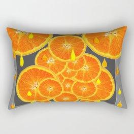 DRIPPING JUICY ORANGE SLICES ABSTRACT MODERN ART Rectangular Pillow