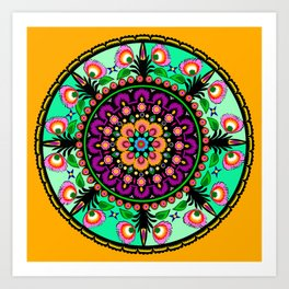 round flower collage Art Print