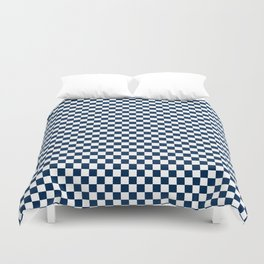 Navy Blue and White Checkerboard Duvet Cover