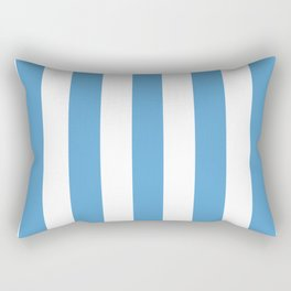 Carolina blue - solid color - white vertical lines pattern Rectangular Pillow