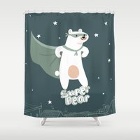superheros Shower Curtains featuring superbear by BabyKarot