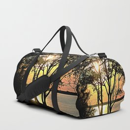 Tree Silhouette At Sunset Duffle Bag