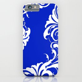 Damask Blue and White iPhone Case