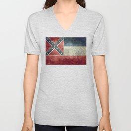 Mississippi State Flag, Vintage Retro Style Unisex V-Neck