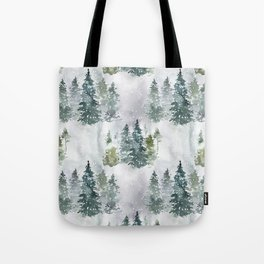 Dreamy Pine Forest in Soft Hues of Green and Gray with Snow  Tote Bag